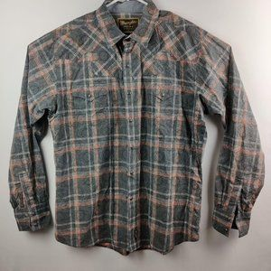 Wrangler Men's Retro Pearl snap Blue Plaid XL